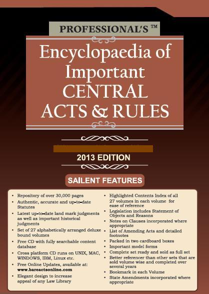 Professionals : Encyclopaedia of Important Central Acts & Rules in 24 Vols., More than 26,000 Pages,  with Free CD, Per Set of 2 Boxes